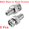 BNC Male to RCA Female Coaxial Connectors with Brass Pin for CCTV Home Security 5pcs