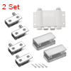 5-8mm Glass Door Double Magnetic Catch Latch Closures ABS White with Clamp 2 Set