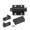 5-6mm Glass Door Magnetic Catch Latch Closures ABS Black with Clamp Set