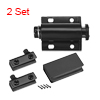 5-6mm Glass Door Magnetic Catch Latch Closures ABS Black with Clamp 2 Set