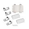 5-6mm Glass Door Double Magnetic Catch Latch Closures ABS White with Clamp Set