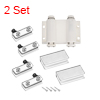 5-6mm Glass Door Double Magnetic Catch Latch Closures ABS White with Clamp 2 Set
