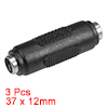 3Pcs DC Female to Female Connector 5.5mm x 2.1mm Power Cable Jack Adapter Black