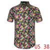Men Button Front Short Sleeve Floral Print Cotton Beach Hawaiian Shirt Pink Black M
