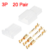 20 Pairs 2.8mm 3 Pin White Plastic Male Female JST-SM Housing Crimp Terminal Connector