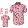 Men Short Sleeve Button Down Floral Print Cotton Beach Hawaiian Shirt Pink M