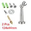 Home Office Stainless Steel Door Magnetic Catch Holder Stopper Wall Protector Silver Tone 2pcs