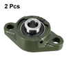 UCFL202 Flanged Pillow Block Bearing, 15mm Bore Diameter, Cast Iron/Chrome Steel, Set screw Lock 2Pcs