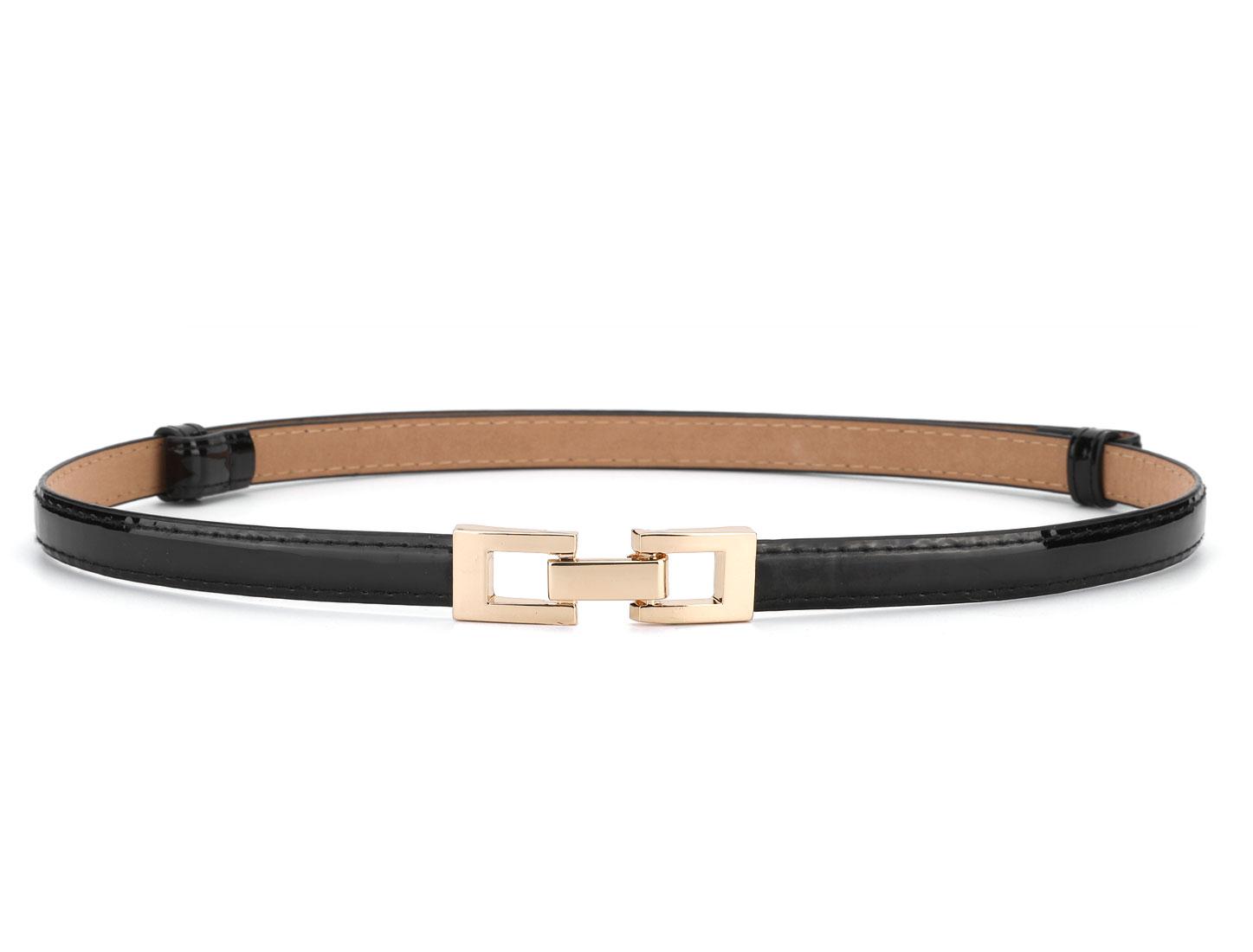 Metal Buckle Adjustable Stretchy Wide Waist Belt for Women Black Square Buckle