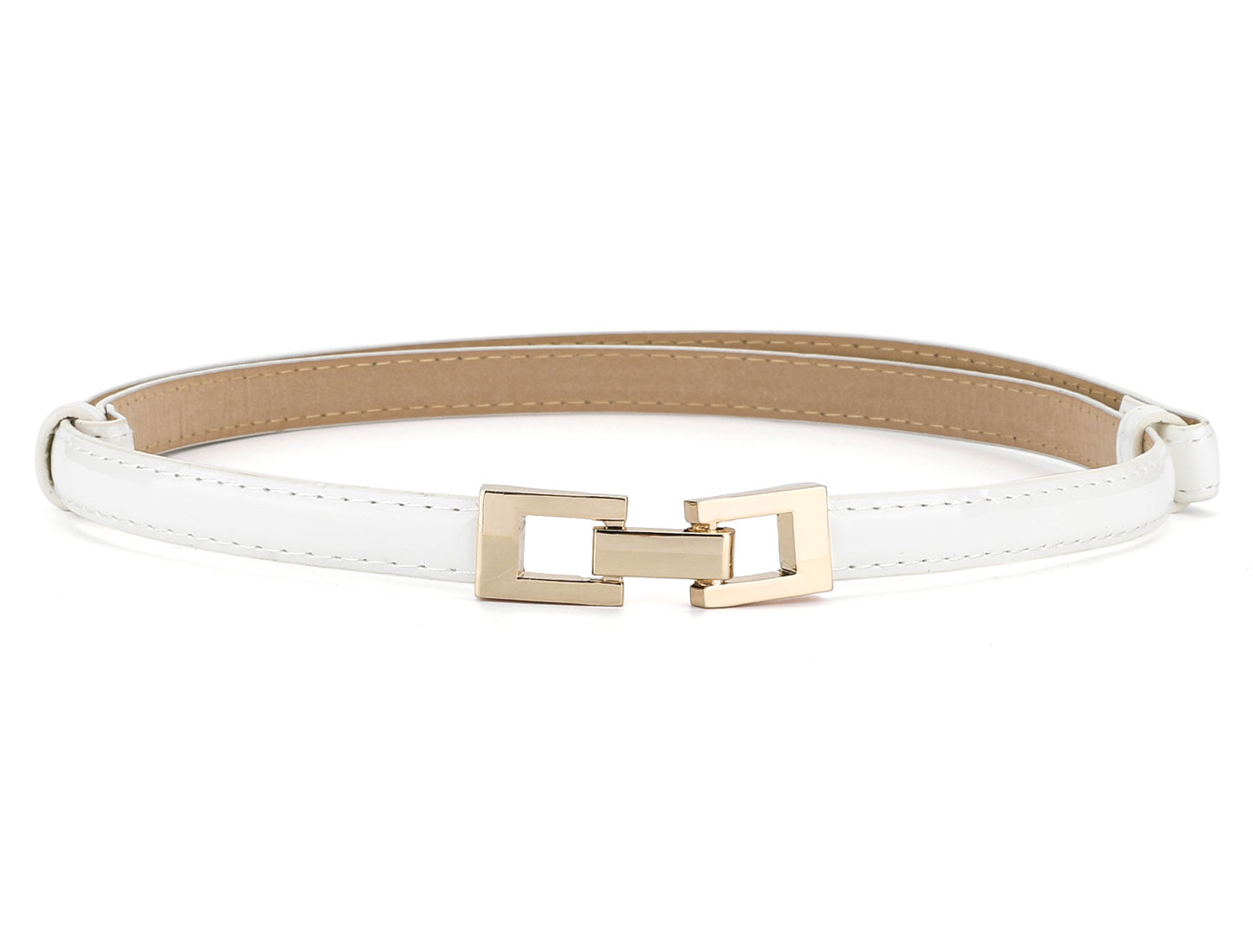 Metal Buckle Adjustable Stretchy Wide Waist Belt for Women White Square Buckle