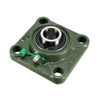 UCF204 Square Flanged Pillow Block Bearing, 20mm Bore Diameter, Cast Iron/Chrome Steel, Set Screw Lock