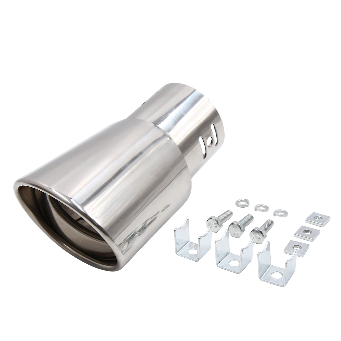 Silver Tone Universal Car Rear Stainless Steel Exhaust Muffler Tail Pipe