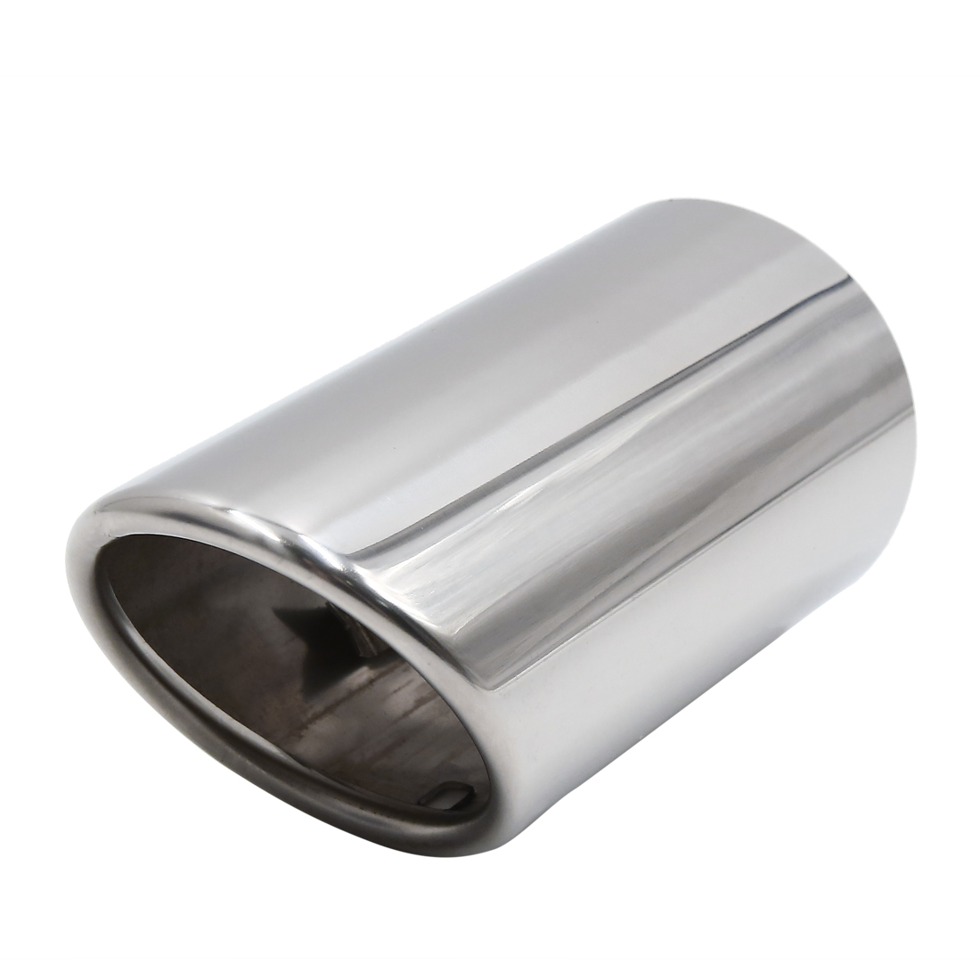 Silver Tone Car Rear Round Stainless Steel Exhaust Muffler Tail Pipe