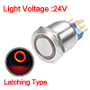 Latching Metal Push Button Switch 22mm Mounting Dia 5A 1NO 1NC 24V Red LED Light Flat Head