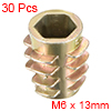 Threaded Insert Nuts Zinc Alloy Hex-Flush M6 Internal Threads 13mm Length 30pcs