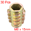 Threaded Insert Nuts Zinc Alloy Hex-Flush M6 Internal Threads 15mm Length 30pcs
