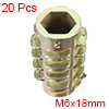 Threaded Insert Nuts Zinc Alloy Hex-Flush M6 Internal Threads 18mm Length 20pcs
