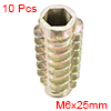 Threaded Insert Nuts Zinc Alloy Hex-Flush M6 Internal Threads 25mm Length 10pcs