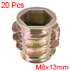 Threaded Insert Nuts Zinc Alloy Hex-Flush M8 Internal Threads 13mm Length 20pcs