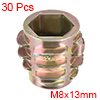 Threaded Insert Nuts Zinc Alloy Hex-Flush M8 Internal Threads 13mm Length 30pcs