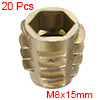 Threaded Insert Nuts Zinc Alloy Hex-Flush M8 Internal Threads 15mm Length 20pcs