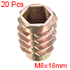 Threaded Insert Nuts Zinc Alloy Hex-Flush M8 Internal Threads 18mm Length 20pcs