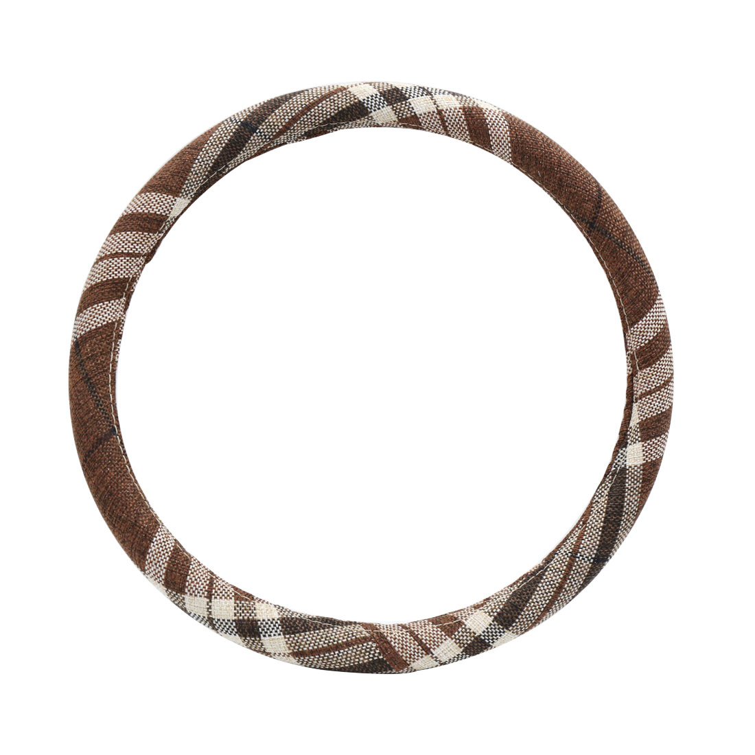 Brown Comfortable Steering Wheel Cover Protector for Vehicle Car 35-36CM