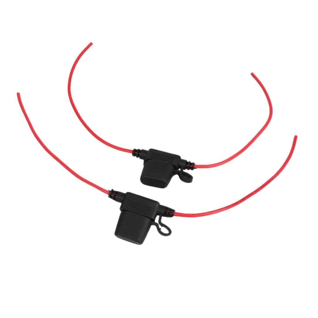 2pcs 12-24V Black Rubber T-Shape Cap Wired Inline Blade Fuse Holder for Car