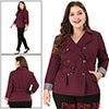 Women's Plus Size Double-Breasted Belted Trench Coat Red 3X