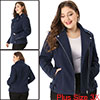 Women Plus Size Convertible Collar Inclined Zip Closure Moto Jacket Blue 3X