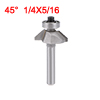 1/4-inch Shank 5/16'' Cutting Length Ball Bearing 45 Degree Chamfer Router Bit