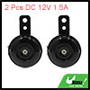 2pcs DC 12V 1.5A 110db Black Motorcycle Loud Horn Electric Siren Trumpet