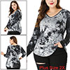 Women's Plus Size V Neck Long Sleeve Tie Dry Hooded Top Black 2X