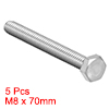 M8 Thread 70mm 304 Stainless Steel Hex Head Screws Bolts Fastener 5pcs