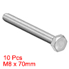 M8 Thread 70mm 304 Stainless Steel Hex Head Screw Bolts Fastener 10pcs