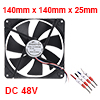 SNOWFAN Authorized 140mm x 140mm x 25mm 48V Brushless DC Cooling Fan #0405