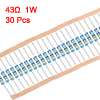 30 pcs Metal Film Resistors 43 Ohm 1W 1% Tolerances 5 Color Bands