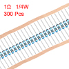300 pcs Metal Film Resistors 1 Ohm 0.25W 1/4W 1% Tolerances 5 Color Bands
