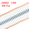 300 pcs Metal Film Resistors 200K Ohm 0.25W 1/4W 1% Tolerances 5 Color Bands
