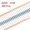 300 pcs Metal Film Resistors 200 Ohm 0.25W 1/4W 1% Tolerances 5 Color Bands