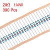 300 pcs Metal Film Resistors 20 Ohm 0.25W 1/4W 1% Tolerances 5 Color Bands
