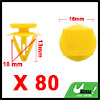 80pcs Universal Yellow Car Trim Door Panel Bumper Fender Plastic Rivets Clips