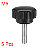M5 x 20mm Male Thread Knurled Clamping Knobs Grip Thumb Screw on Type 5 Pcs