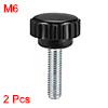 M6 x 20mm Male Thread Knurled Clamping Knobs Grip Thumb Screw on Type 2 Pcs