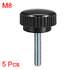 M8 x 30mm Male Thread Knurled Clamping Knobs Grip Thumb Screw on Type 5 Pcs