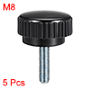 M8 x 20mm Male Thread Knurled Clamping Knobs Grip Thumb Screw on Type 5 Pcs