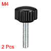 M4 x 20mm Male Thread Knurled Clamping Knobs Grip Thumb Screw on Type 2 Pcs