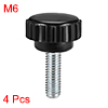 M6 x 15mm Male Thread Knurled Clamping Knobs Grip Thumb Screw on Type 4 Pcs