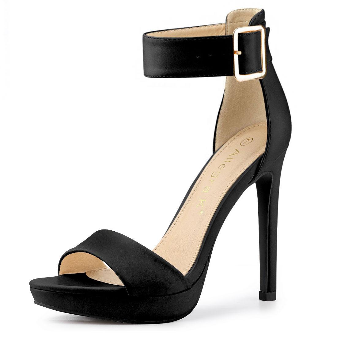 Allegra K Women's Open Toe Platform Strap Stiletto Heel Sandals Black US 10