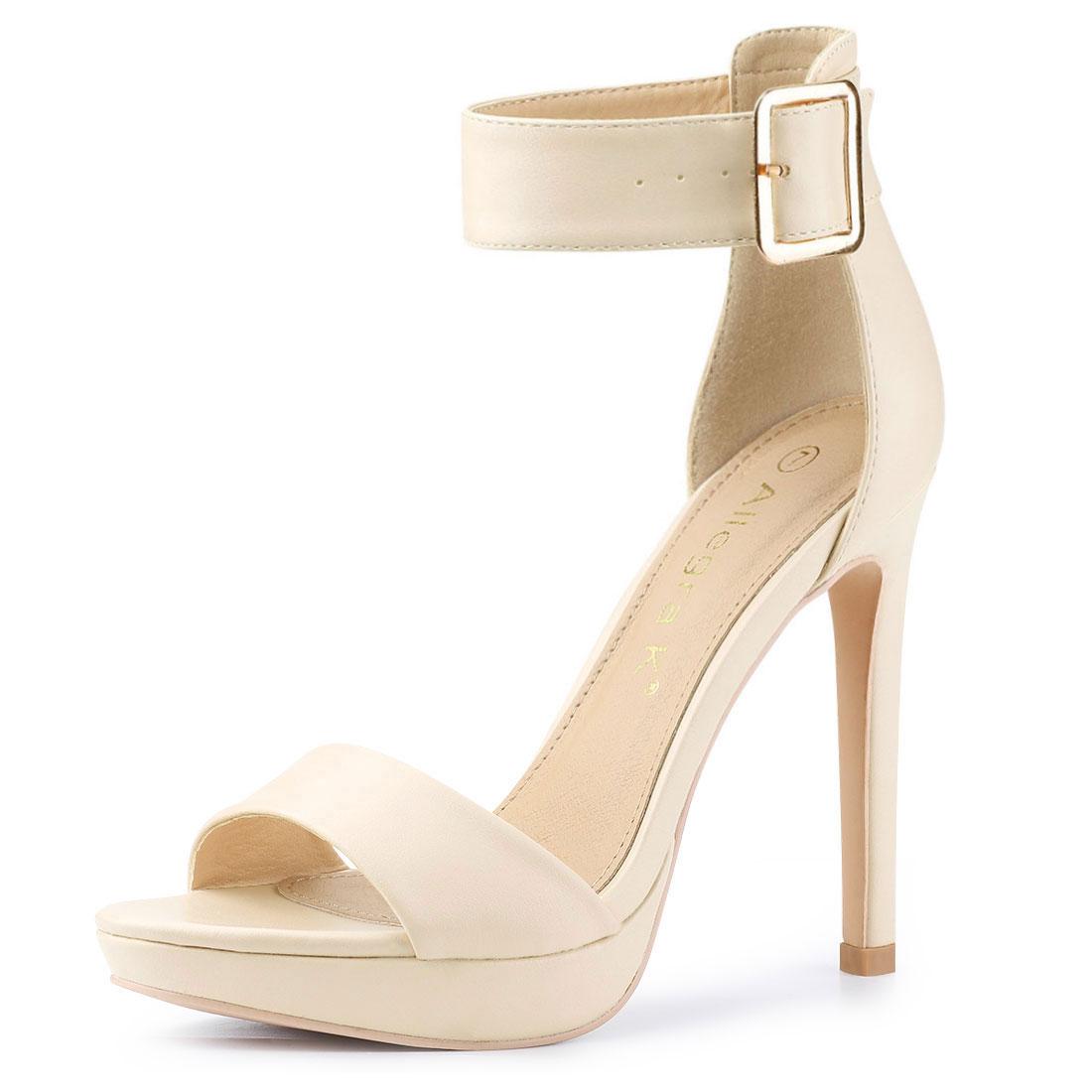 Allegra K Women's Open Toe Platform Strap Stiletto Heel Sandals Beige US 7